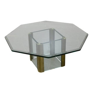 Leon Rosen for Pace Brass & Glass Octagonal Top Coffee Table