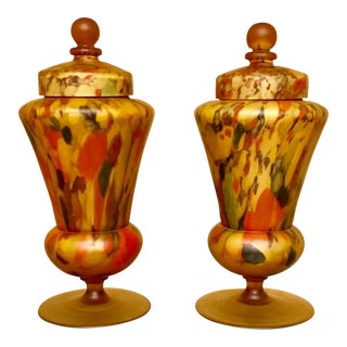 Vintage Czech Art Glass Lamps - A Pair