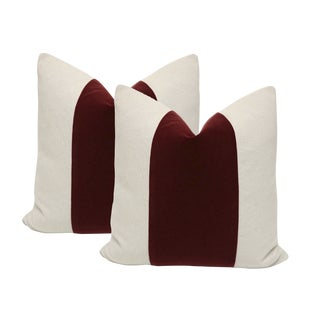 "22"" Oxblood Velvet Panel & Linen Pillows - A Pair"