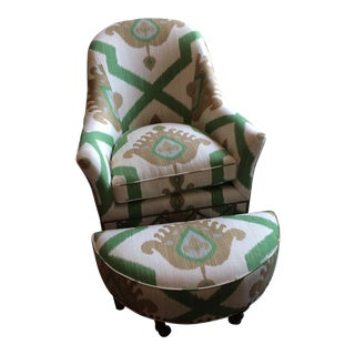 Thibaut Ikat Club Chair and Matching Ottoman