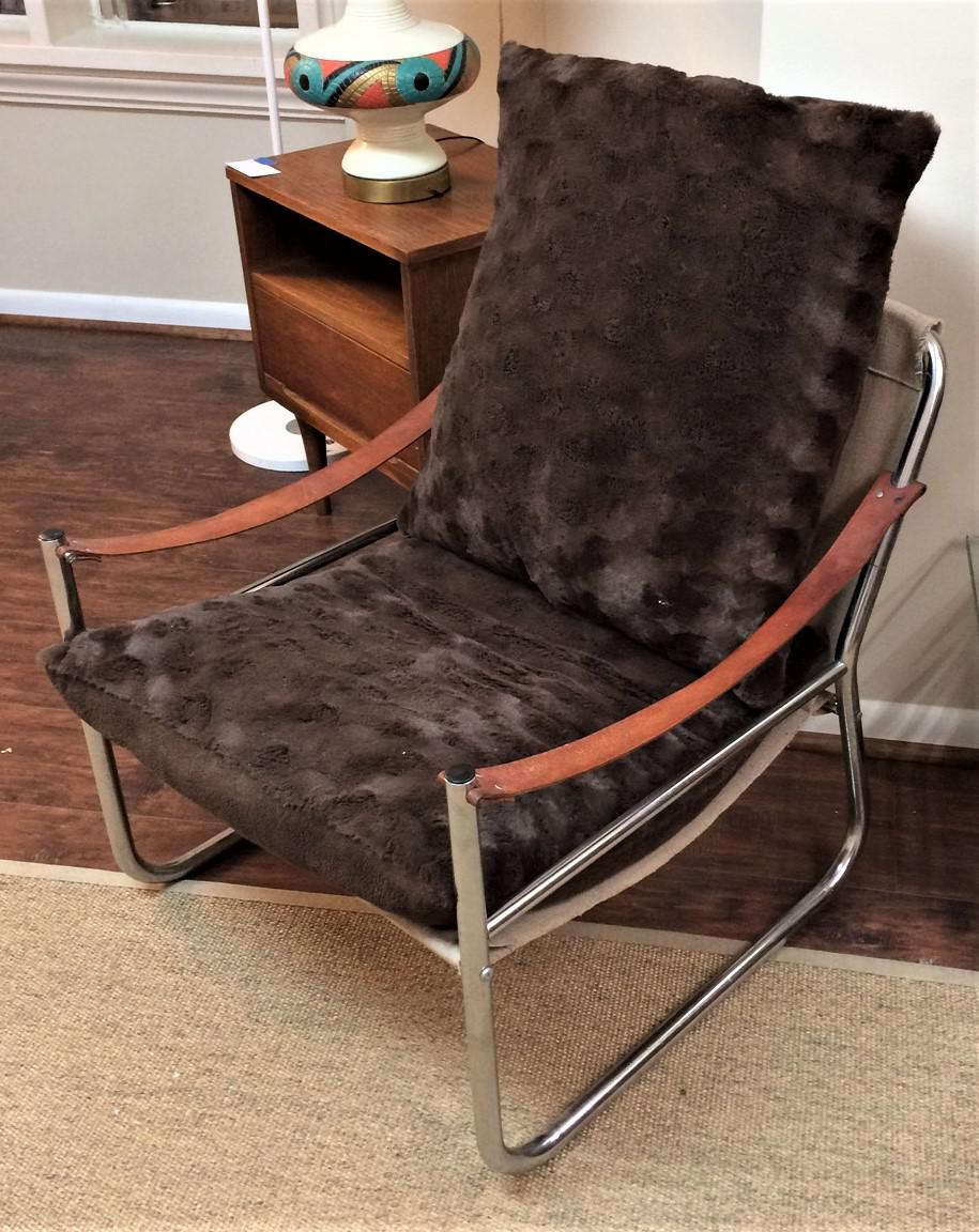 Mid Century Modern Chrome And Leather Straps Safari Style Lounge Chairs   A  Pair