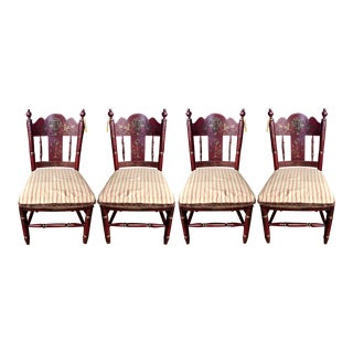 Antique Red Painted Shake Seat Dining Chairs - Set of 4