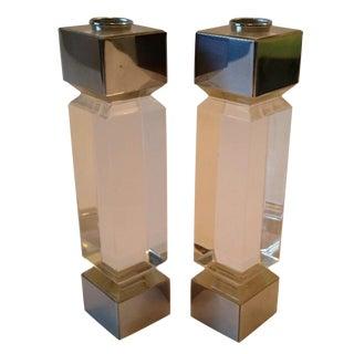 George Bullitt Style Lucite Candlesticks - A Pair