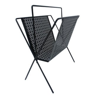 Vintage Black Perforate Metal Magazine Rack