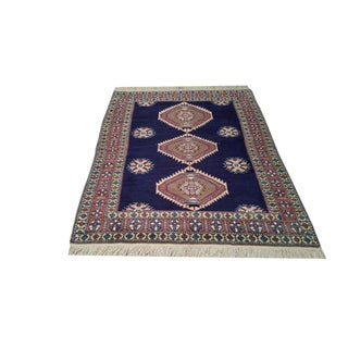 Vintage Persian Ardebil Hand Made Knotted Wool Rug - 4'6'' X 6'6'' - Size Cat. 4x6