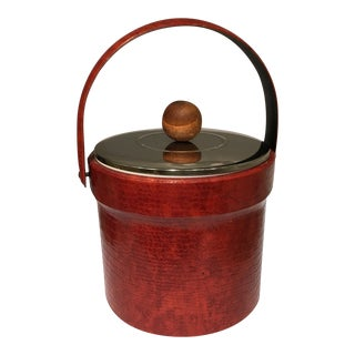 Vintage Red Faux Croc Ice Bucket