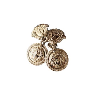 Rare Gianni Versace 90s Silver Medusa Earrings