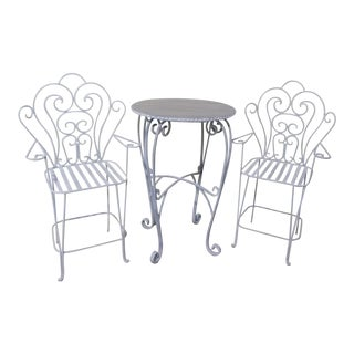 Iron Bistro Breakfast Patio Table & 2 Chairs