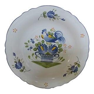 French Luneville Chanteclerc Blue Serving Bowl