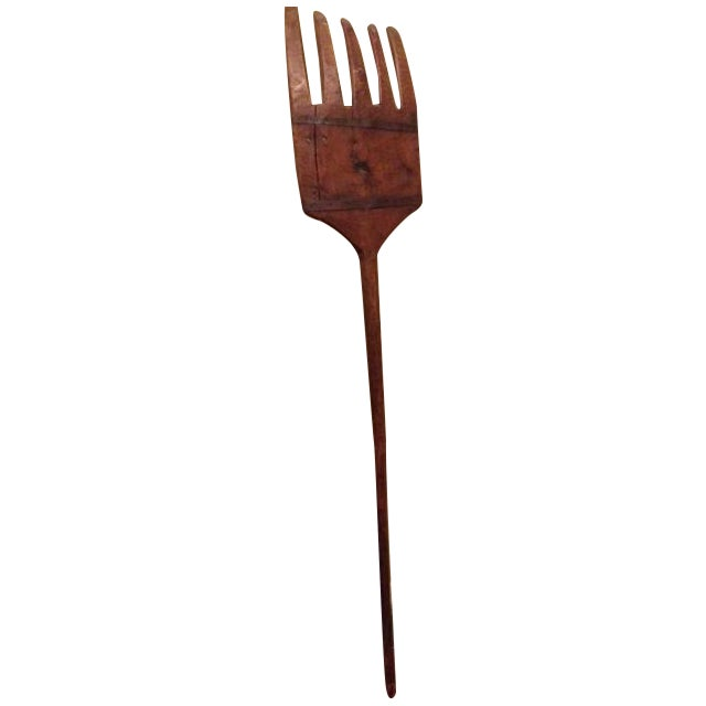 Antique Tall Wooden Fork Banded With Metal - Image 1 of 6
