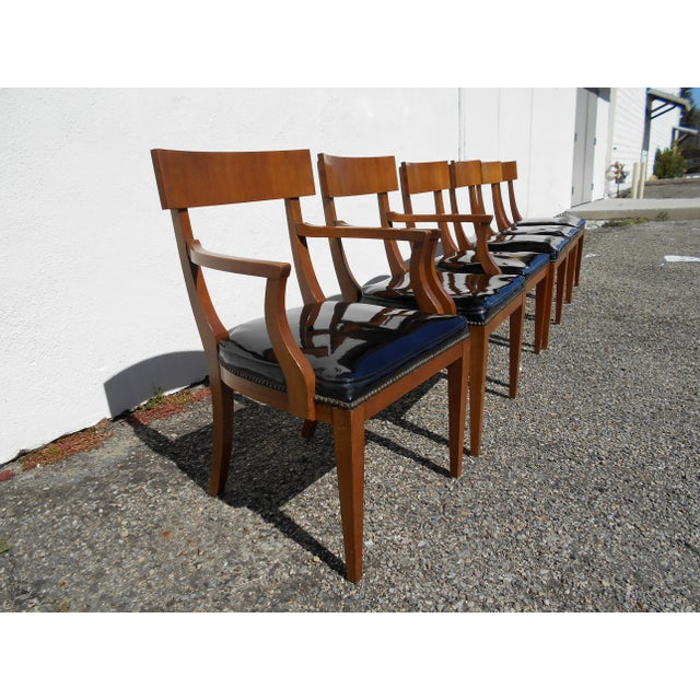 Mid-Century Patent Leather Dining Chairs - Set of 6 - Image 5 of 11