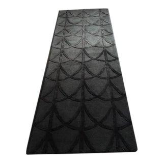 Scalloped Gray Wool Runner - 2″ × 7″