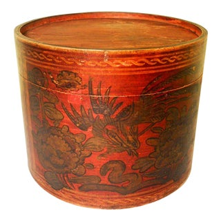 Antique Chinese Bamboo Hat Box