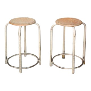Vintage French Industrial School Stools - A Pair