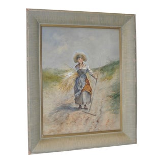 "C.1890s 19th C. ""Seaside Grass Harvest"" Watercolor"