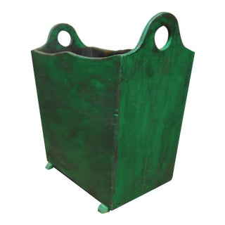 French Painted Wooden Handled Harvest Crate Bin