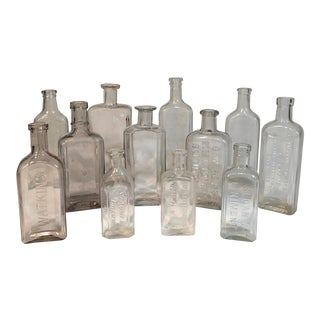 Antique Apothecary Medicine Clear Glass Bottles - Set of 12