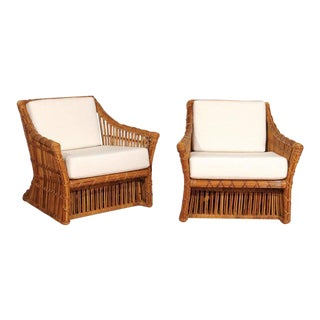 Magnificent Pair of Restored Vintage Rattan Club Chairs by McGuire