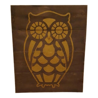Golden Owl on Rustic Wood