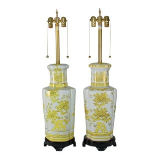 Marbro Vintage Yellow Porcelain Lamps