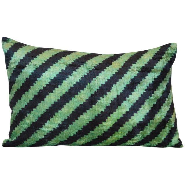Uzbek Silk Velvet Ikat Pillow - Image 1 of 2