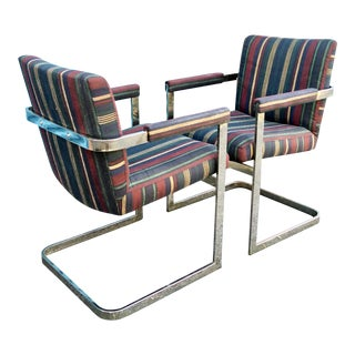 Chrome Cantilever Arm Chairs, A Pair