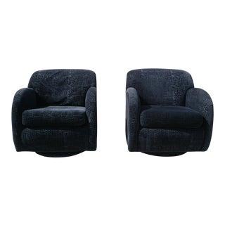 Mid-Century Vladimir Kagan Black Velvet Swivel Club Chairs - A Pair
