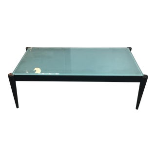 Black Wood & Frosted Glass Top Coffee Table