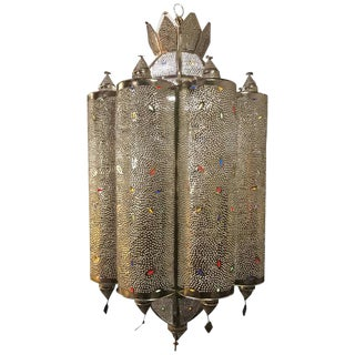 Silver Plated Jeweled Art Deco Lantern Form Light Fixture