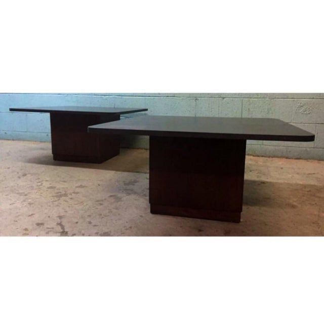 Vintage Slate & Walnut Coffee Tables - A Pair - Image 3 of 5