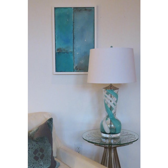 Turquoise Swirl Art Glass Table Lamp - Image 8 of 8