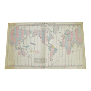 1940 Time Zone Chart of The World