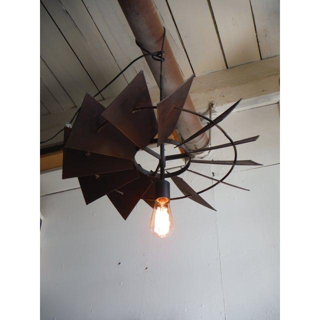 Vintage Rustic Windmill Pendant Light - Image 2 of 6
