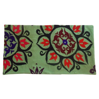 Uzbek Bridal Suzani Green Pillow Sham