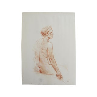 Chalk Figure Drawing of a Nude With Headwrap