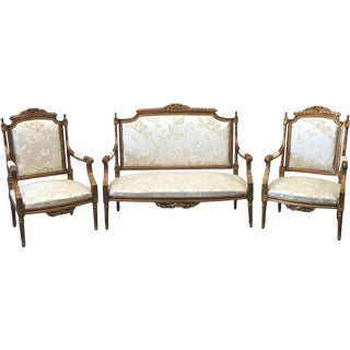 French Antique Louis XV Style Parlor Settee & Matching Chairs - Set of 3