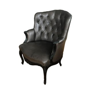 French 19th Century Black Leather Bergère Chair