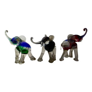 Alessandro Barbaro Murano Glass Elephants - Set of 3