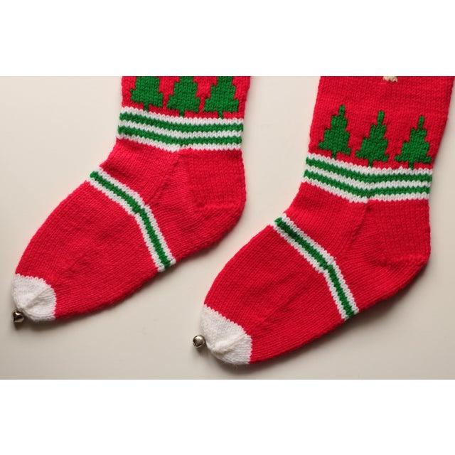 Vintage Hand-Knit Santa & Reindeer Stockings - A Pair - Image 7 of 8