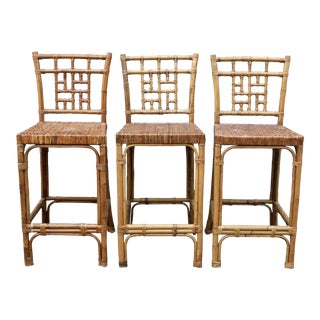Rattan Wicker McGuire-Style Fretwork Bar Stools - Set of 3