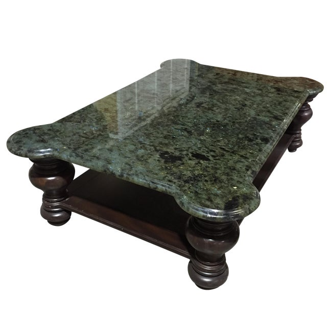 Mahogany Coffee Table With Granite Top - Image 1 of 4