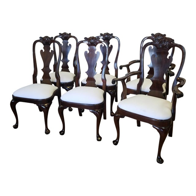 Set 6 Solid Mahogany Classics Stickley Furniture Queen Anne Style Dining Room Chairs Model 4477