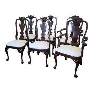"Set 6 Solid Mahogany ""Classics"" Stickley Furniture Queen Anne Style Dining Room Chairs Model 4477"