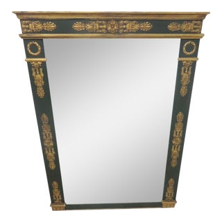 French Empire Style Green & Gilt Mirror
