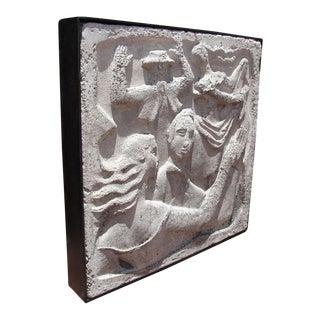 """Wall- Mounted Cast Concrete Art Deco Plaque Entitled, """"Dance"""""""