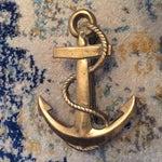 Image of Nautical Coastal Beach House Anchor & Rope Brass Door Knocker