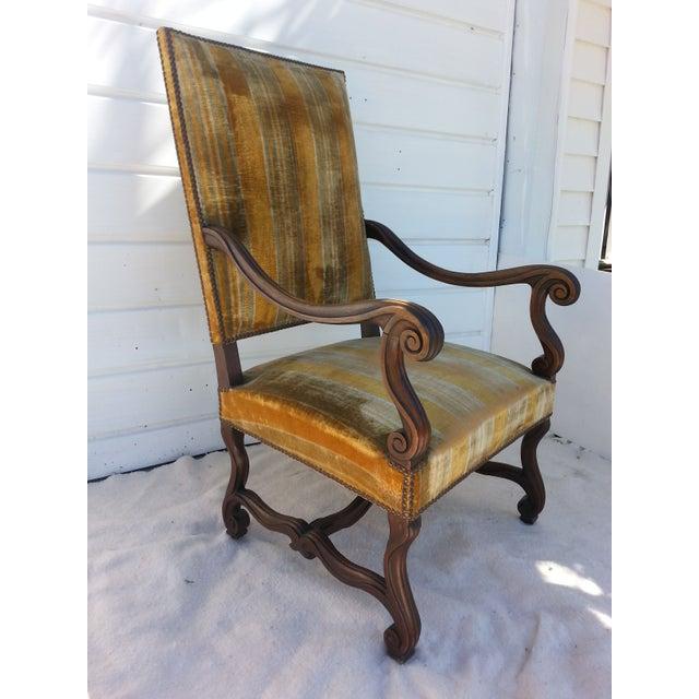 Antique Golden Velvet French Chair - Image 2 of 4