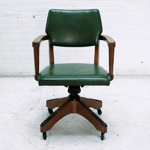 Mid Century Swivel Desk Chair in Green - Image 2 of 6