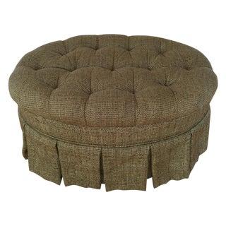 Dorothy Draper Style Tufted Oval Ottoman
