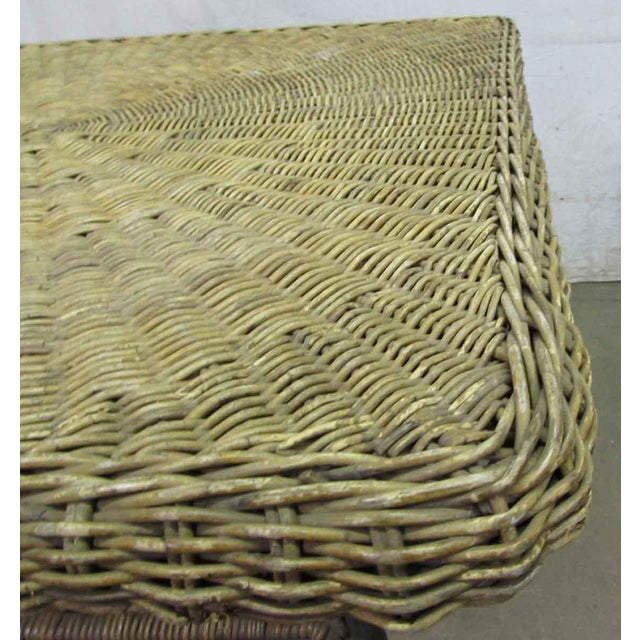 Antique Wicker Desk With Metal Legs - Image 6 of 8 - Antique Wicker Desk With Metal Legs Chairish